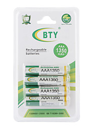 BTY 1350mAh AAA Ni-MH Rechargeable Battery Set (4-pack)