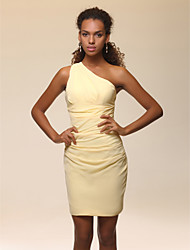Sheath / Column One Shoulder Short / Mini Stretch Satin Cocktail Party Homecoming Dress with Side Draping Ruching by TS Couture®