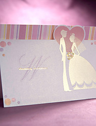 douce de conception mariée et le marié d'invitation de mariage à trois volets (jeu de 50)