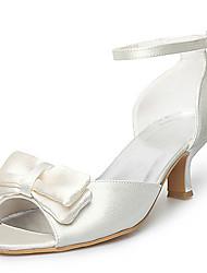 Satin oberen Mittelklasse Fersen Peep-Toes mit bowknot Hochzeit Brautschuhe (0984-r-059)