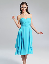 Lanting Knee-length Chiffon Bridesmaid Dress - Pool Plus Sizes / Petite A-line / Princess Strapless / Sweetheart