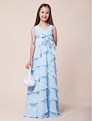 Floor-length Chiffon / Stretch Satin Junior Bridesmaid Dress A-line / Princess V-neck Empire withBow(s) / Ruffles / Sash / Ribbon / Tiers
