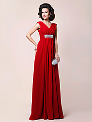 A-line Plus Sizes / Petite Mother of the Bride Dress - Ruby Floor-length Sleeveless Chiffon