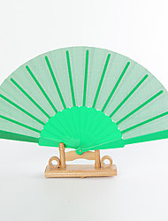 Green Silk Hand Fans (set of 6)