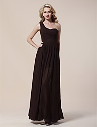 Formal Evening Military Ball Dress - Elegant Sheath / Column One Shoulder Floor-length Chiffon with Side Draping Pleats
