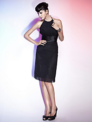 TS Couture® Cocktail Party / Holiday Dress - Little Black Dress Plus Size / Petite Sheath / Column Halter / Jewel Knee-length Chiffon / Stretch Satin