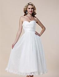 Cocktail Party/Prom/Formal Evening/Graduation Dress - Ivory Plus Sizes A-line/Princess Strapless/Sweetheart Tea-length Lace/Taffeta