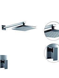 Contemporary Shower Only Rain Shower with  Ceramic Valve Single Handle Two Holes for  Chrome , Shower Faucet