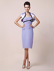 Sheath/Column Strapless Knee-length Chiffon Mother of the Bride Dress With A Wrap