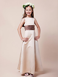 Lanting Bride® Floor-length Satin Junior Bridesmaid Dress A-line / Princess Bateau Natural with Sash / Ribbon / Ruching