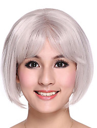 Part Hand Tied Capless Bob Synthetic White Hair Wig