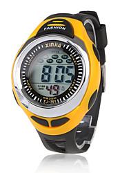 Masculino Relógio Esportivo LCD Calendário Cronógrafo Impermeável alarme Digital Silicone Banda Preta