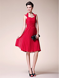 Lanting A-line Plus Sizes / Petite Mother of the Bride Dress - Ruby Knee-length Sleeveless Chiffon