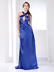 Stretch Satin Sheath/Column  V-neck Sweep/ Brush Train Evening Dress