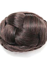 brun synthétique tressée brioche postiche