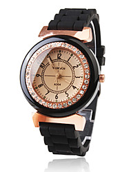 Women's Diamond Decoration Black Silicone Band Quartz Wrist Watch Cool Watches Unique Watches