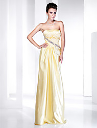 Sheath/Column Strapless Floor-length Side-Draped Stretch Satin Evening Dress