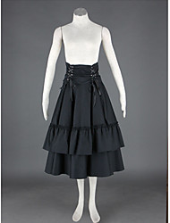 Tea-length Black Cotton Polyester Lolita Skirt