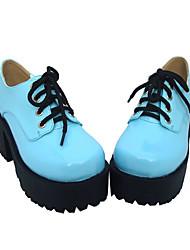"3"" Chunky Heel Platform Black PU Lolita Shoes"