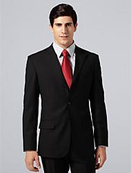 Custom Made Single Breasted Three-button Peak Lapel Center-vented Black Stripe Suit