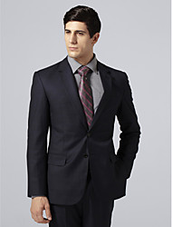 Custom Made Single Breasted Two-button Notch Lapel Side-vented Navy Plaid Suit Jacket