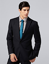 Custom Made Single Breasted One-button Peak Lapel Side-vented Navy Suit