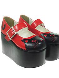 "Cat Pattern 4"" Platform PU Lolita Shoes"