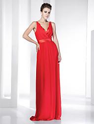 folga! chiffon trecho cetim do assoalho-comprimento vestido de noite v-pescoço inspirado por selena gomez na oscar 83
