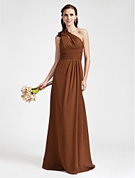 Lanting Sheath/Column One Shoulder Floor-length Chiffon Bridesmaid Dress