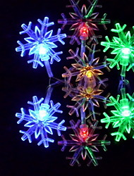 6M 3W 32-LED Colorful Light Snowflake-Shaped String Fairy Lamp (110/220V)