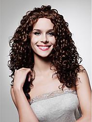 кружева передней долго высококачественных синтетических темно-коричневый кудрявый парик волос