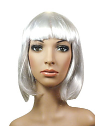 Capless Midlong High Quality Synthetic Beautiful White Wig