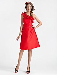 Knee-length One Shoulder Bridesmaid Dress - Sexy Sleeveless Taffeta