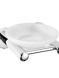 Frosted Glass Soap Dish Holder Chrome Finish