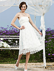 A-line Princess Wedding Dress - Chic & Modern Reception Little White Dress Lacy Look Tea-length Strapless Lace with Sash / Ribbon