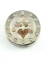 Personalized Stainless Steel Purse Valet With Acrylic Diamond – Chocolate Hearts