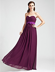 Sheath / Column Strapless Sweetheart Floor Length Chiffon Bridesmaid Dress with Bow(s) Draping Sash / Ribbon Criss Cross byLAN TING