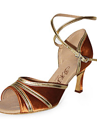 Non Customizable Women's Dance Shoes Latin/Ballroom Satin/Leatherette Stiletto Heel Multi-color