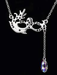 Maschera Veneziana in lega collana d'argento con goccia di cristallo