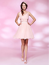 Cocktail Party / Homecoming / Sweet 16 Dress - Short Plus Size / Petite A-line / Princess V-neck Short / Mini Chiffon / Tulle withDraping