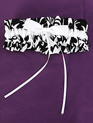 Garter Satin Bowknot White Black
