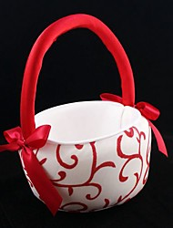 Red Floral and Vine Flower Girl Basket