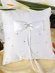 """Love Ever Lasting"" Wedding Ring Pillow In White Satin With Rhinestone"