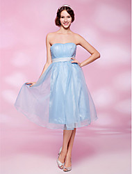 Homecoming Cocktail Party/Homecoming Dress - Sky Blue Plus Sizes A-line/Princess Strapless/Sweetheart Knee-length Satin/Organza