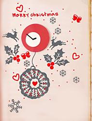 Navidad decoración de la pared pegatinas vacaciones adornos de Navidad adornos del estilo del reloj