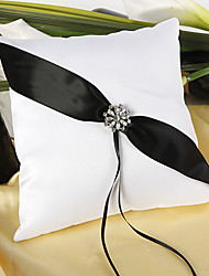 Shimmering Twilight Wedding Ring Pillow In Black And White