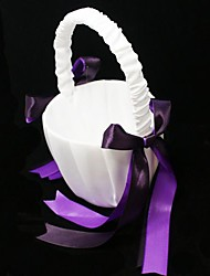 Flower Girl Basket In White Satin With Double Ribbon Bow