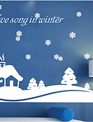 Christmas Decoration Wall Stickers Holiday Ornaments Love Song in Winter