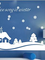 décoration de Noël stickers muraux ornements de vacances chanson d'amour en hiver