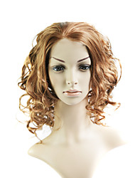Lace Front Medium Mixed Hair Light Brown Curly Hair Wig